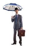 Businessman with umbrella Royalty Free Stock Images