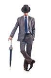 Businessman with umbrella Royalty Free Stock Photo