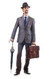 Businessman with umbrella Stock Images