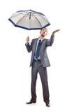 Businessman with umbrella Stock Image