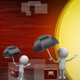 Businessman with an umbrella and a briefcase illustration Royalty Free Stock Photos