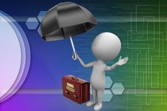 Businessman with an umbrella and a briefcase illustration Royalty Free Stock Image