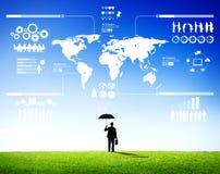 Businessman with Umbrella. And business forecast stock photos
