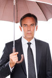 Businessman with umbrella. Royalty Free Stock Photos