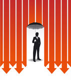 Businessman in Umbrella creative Finance safe idea Stock Images