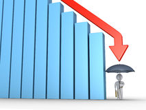Businessman with umbrella and falling graph Royalty Free Stock Image