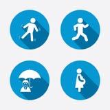 Businessman with umbrella. Human running symbol Stock Image