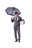 The businessman with umbrella isolated on white background Royalty Free Stock Photos