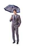 The businessman with umbrella isolated on white background Stock Photos