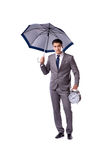 The businessman with umbrella isolated on white background Stock Images