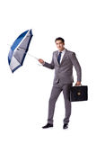 The businessman with umbrella isolated on white background Royalty Free Stock Photo