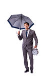 The businessman with umbrella isolated on white background Stock Photography