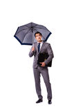 The businessman with umbrella isolated on white background Stock Photo