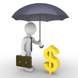 Businessman with umbrella protecting dollar. 3d businessman holding an umbrella is protecting a dollar symbol Stock Images