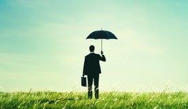 Businessman Umbrella Protection Risk Freedom Concept Royalty Free Stock Photos