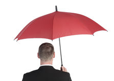 Businessman with umbrella Royalty Free Stock Photo
