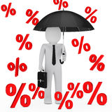 Businessman umbrella sale percent Stock Photos