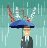Businessman with Umbrella Standing Under the Rain. Escaping fro. Cartoon Businessman with Umbrella Standing Under the Rain Stock Image