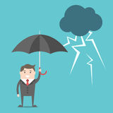 Businessman, umbrella and thunderstorm Royalty Free Stock Images