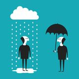 Businessman with umbrella vector concept in flat cartoon style Stock Photos