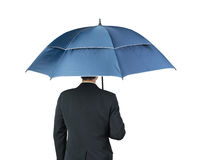 Businessman and umbrella on white Stock Photos