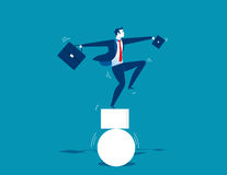 Businessman and unbalanced. Concept business illustration Royalty Free Stock Image