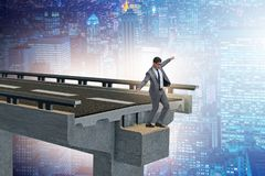 The businessman in uncertainty concept with broken bridge Royalty Free Stock Photography
