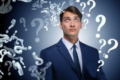 Businessman in uncertainty concept with many unanswered question. S Stock Photography