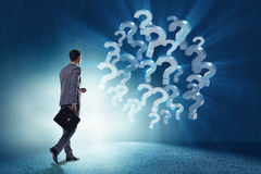 The businessman in uncertainty concept with question marks. Businessman in uncertainty concept with question marks Royalty Free Stock Image