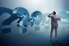 The businessman in uncertainty concept with question marks. Businessman in uncertainty concept with question marks Royalty Free Stock Images