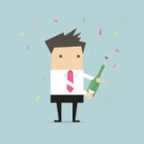 Businessman uncorking a bottle of champagne. Vector illustration Royalty Free Stock Photography