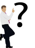 Businessman under the badge of a question Royalty Free Stock Images