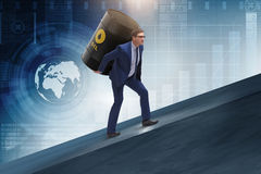 The businessman under the burden of oil barrel. Businessman under the burden of oil barrel Stock Photos