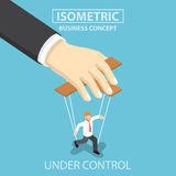 Businessman are under control like a puppet by big hand Stock Images