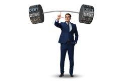 The businessman under heavy burden of debt Royalty Free Stock Image