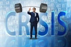 The businessman under heavy burden of debt Stock Image