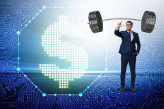 The businessman under  heavy burden of taxes Royalty Free Stock Photo