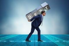 The businessman under heavy debt burden Stock Images