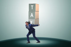 The businessman under heavy tax burden Royalty Free Stock Photos