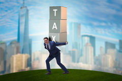 The businessman under heavy tax burden Stock Photography