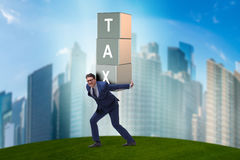 The businessman under heavy tax burden Stock Images
