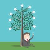 Businessman under lightbulbs tree Royalty Free Stock Image