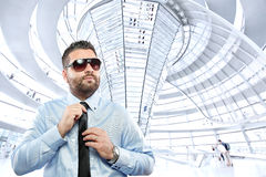 Businessman under Reichstag dome Stock Photography