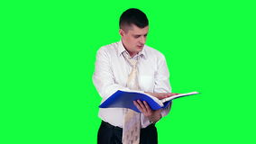 Businessman under stress chroma key stock video