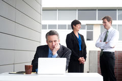 Businessman under stress, fatigue and headache. At the office Stock Images