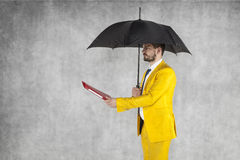 Businessman under the umbrella gives briefcase Royalty Free Stock Photo