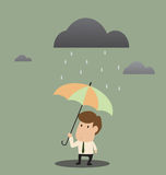 Businessman under an umbrella in the rain Stock Images