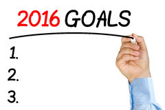 Businessman underlining 2016 goals text with black felt-tip or m Stock Photography