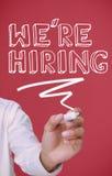 Businessman underlining we're hiring Stock Photos