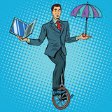 Businessman on unicycle business balance Stock Photography